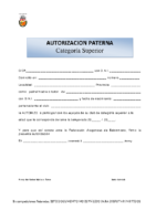 AUTORIZACION PATERNA CATEGORIA SUPERIOR.