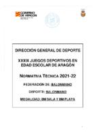 NORMATIVA ESPECIFICA JUEGOS ESCOLARES 2021-2022